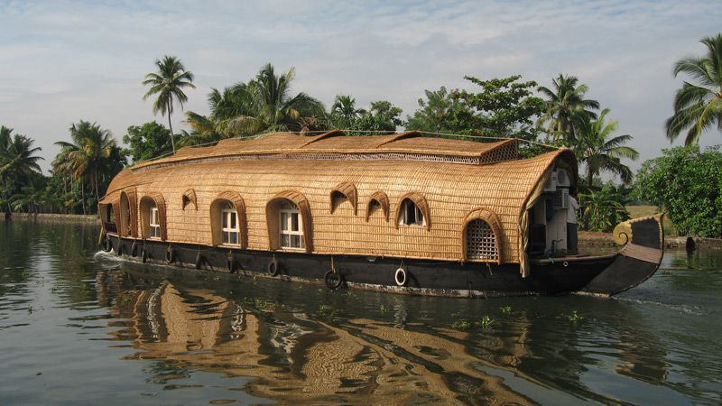 Periyar-Alleppey, husbåt Backwaters
